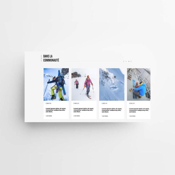 Visuel représentant la mise en avant Blog du site Zag skis, sur fond gris