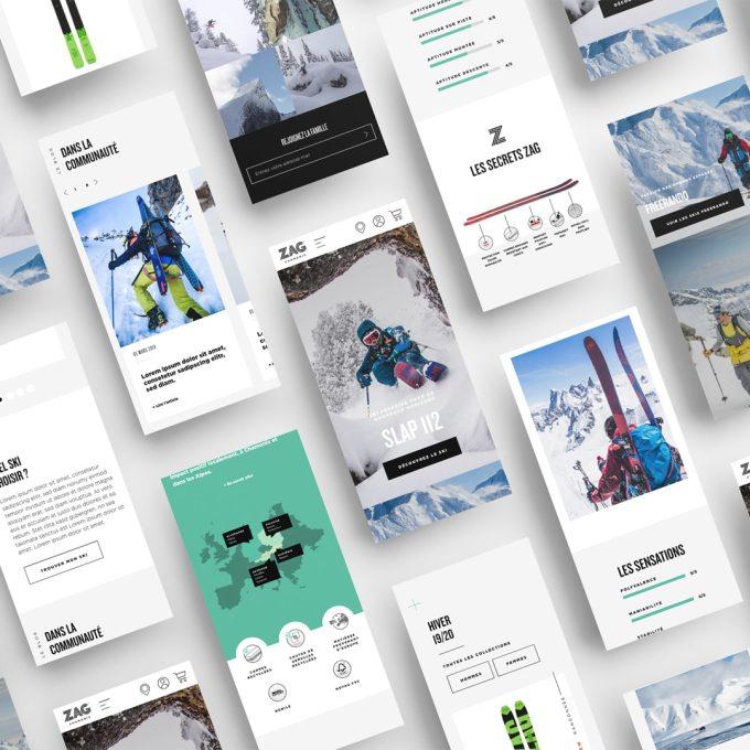 Mosaïque de visuels tirés du site Zag Skis au format mobile