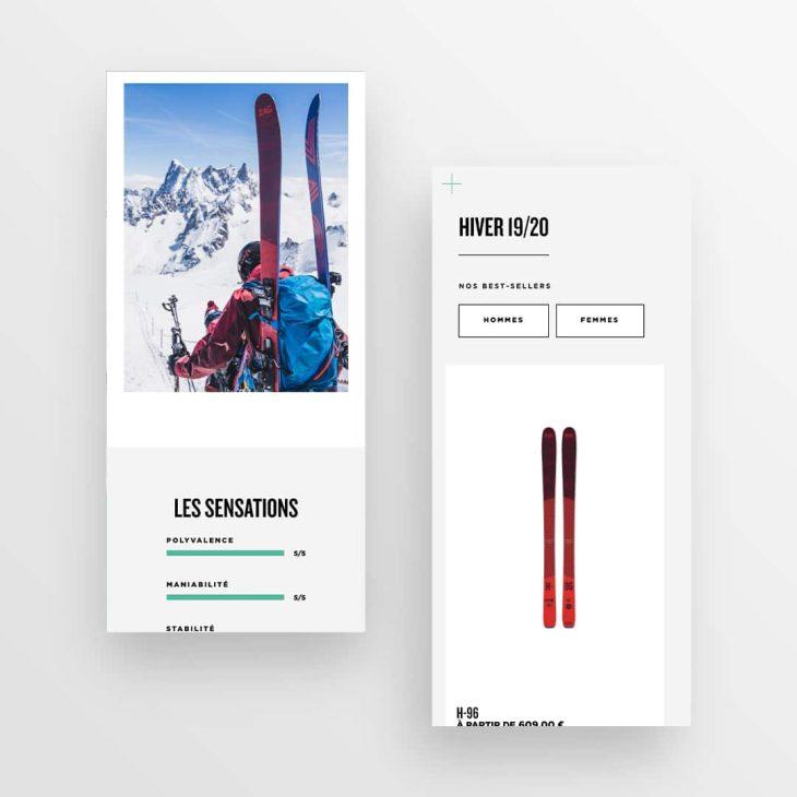 Deux visuels mobile du site Zag Skis disposés en quinconce en verticale sur fond gris, représentant des blocs relatifs aux caractéristiques des skis