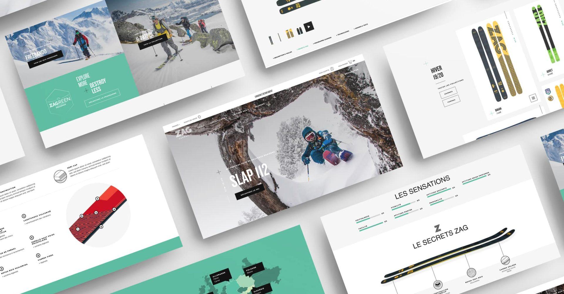 Mosaïque de visuels tirés du site Zag Skis
