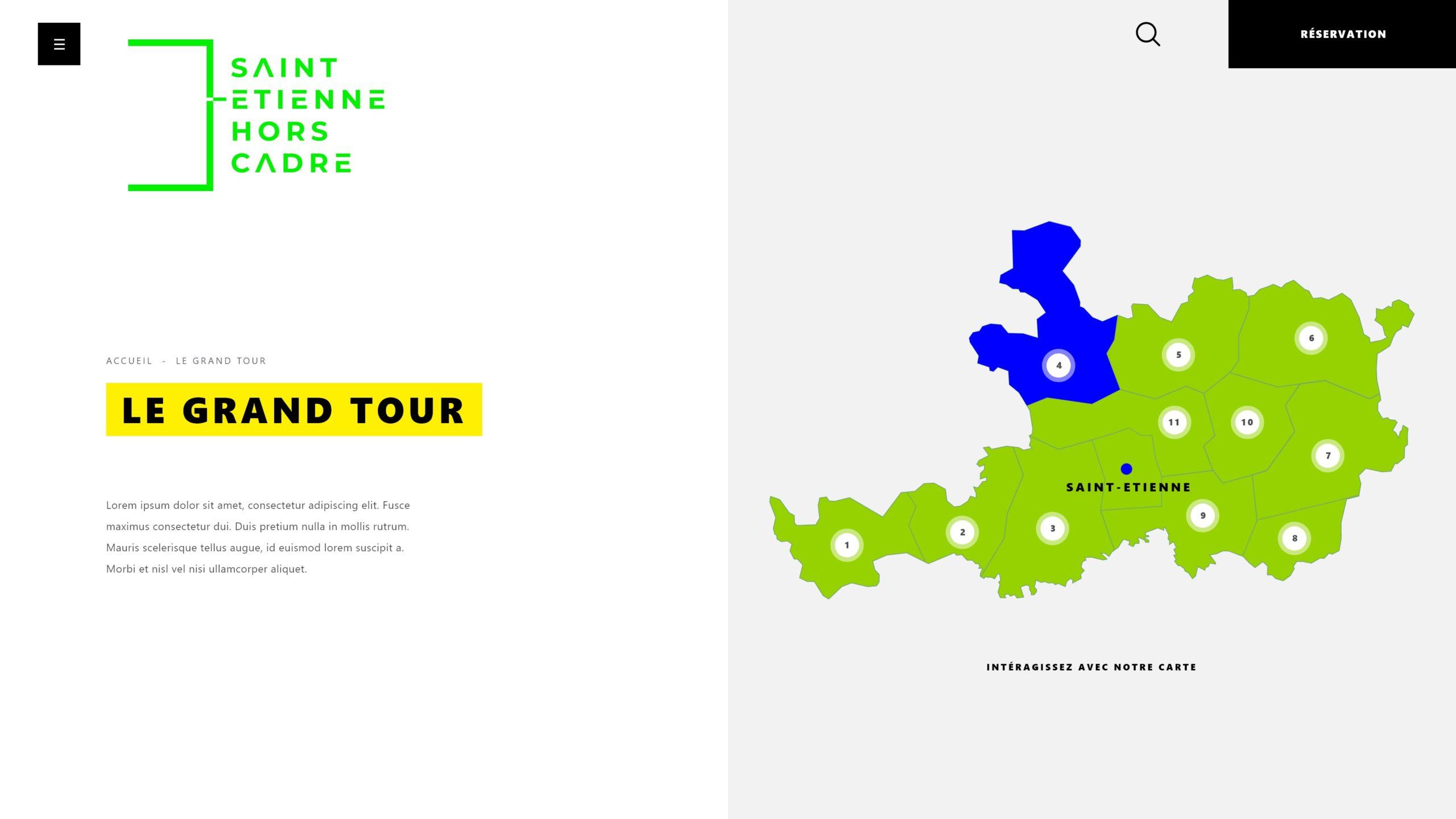 Illustration représentant une carte interractive de Saint-Etienne et sa région
